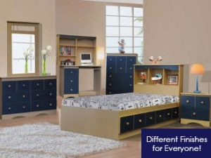 Natural & Blue Mates Bed & Bedroom furniture set