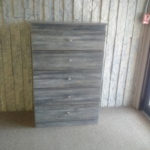 Bedroom 5 Drawer Chest in Grey